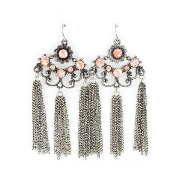 FLOWER WITH CRYSTALS AND TASSELS DROP EARRINGS - product image