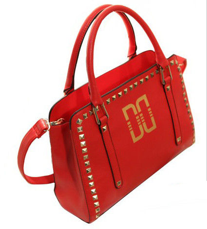 FAUX LEATHER WITH GOLD TONE STUD SATCHEL BAG - product image