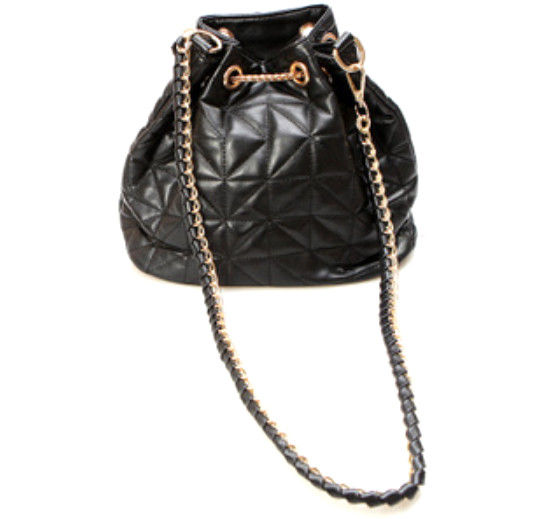 FAUX LEATHER WITH CHAIN DRAWSTRING BAG - product image
