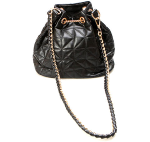 FAUX,LEATHER,WITH,CHAIN,DRAWSTRING,BAG