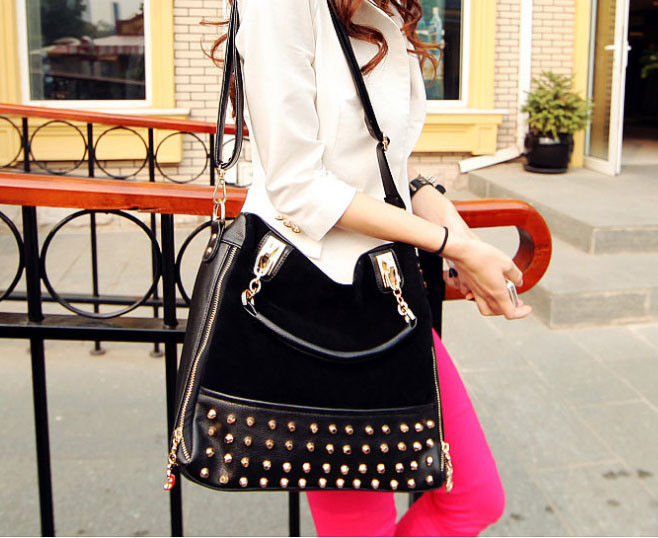 FAUX LEATHER STUD DECOR SATCHEL BAG - product image