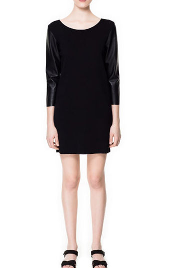 FAUX LEATHER SLEEVE DRESS - product image