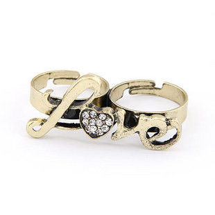 DOUBLE FINGER LOVE CRYSTAL RING - product image