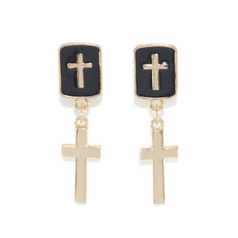 DOUBLE,CROSS,DROP,EARRING