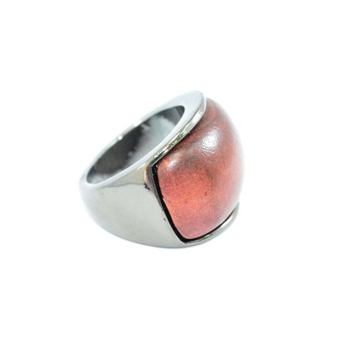 DARK,SILVER,METAL,WITH,WOOD,RING