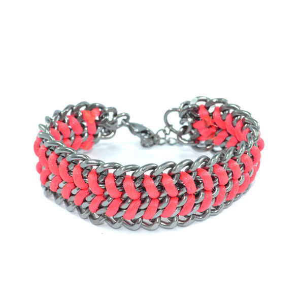 DARK SILVER CHAIN WITH WOVEN PINK STRING BRACELET - product image