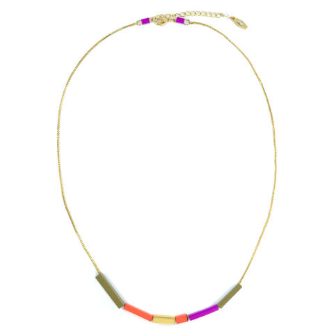 CUBIC,TUBE,NECKLACE,CUBIC TUBE NECKLACE, COLORFUL NECKLACE, COLOUR TUBE NECKLACE, MULTI COLOUR TUBES NECKLACE, COLOURFUL TUBES NECKLACE, METALLIC CUBIC TUBE NECKLACE, TRIANGULAR TUBES NECKLACE