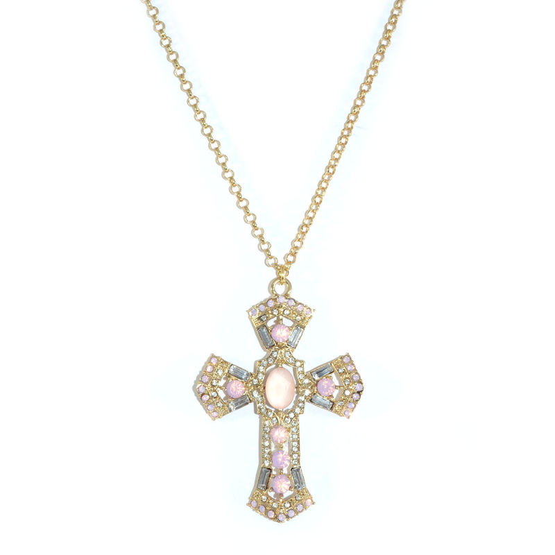 CRYSTALS DECOR CROSS PENDANT NECKLACE - product image