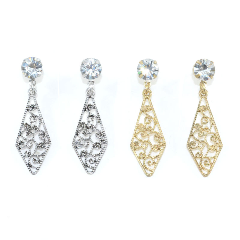 CRYSTAL WITH HOLLOW PATTERN RHOMBUS DROP EARRINGS - product image