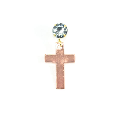 CRYSTAL,WITH,BRONZE,TONE,CROSS,DROP,EARRING