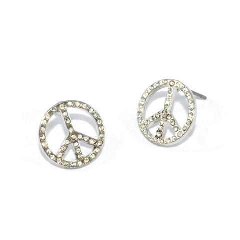 CRYSTAL,PEACE,SIGN,EARRINGS