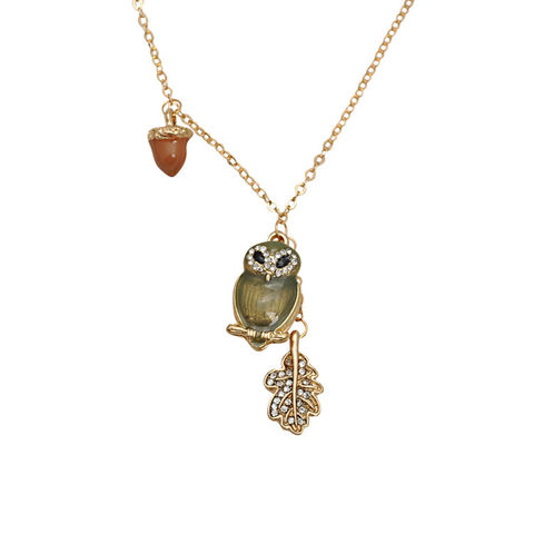CRYSTAL,OWL,NECKLACE