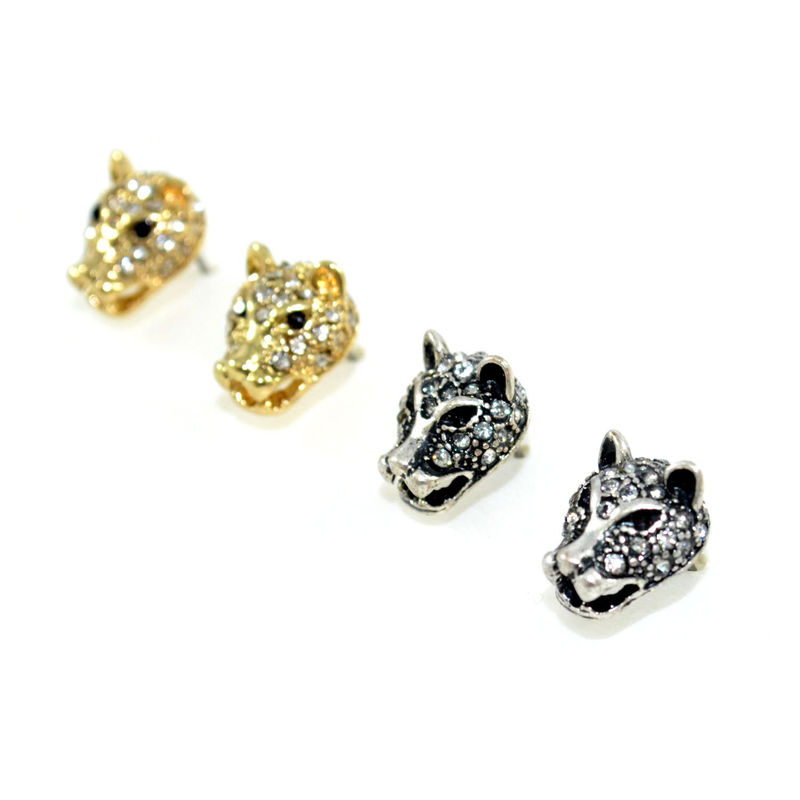 CRYSTAL LEOPARD EARRINGS - product image