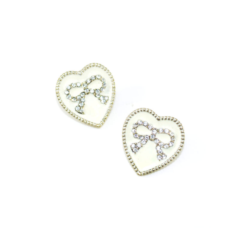 CRYSTAL BOW HEART EARRINGS - product image