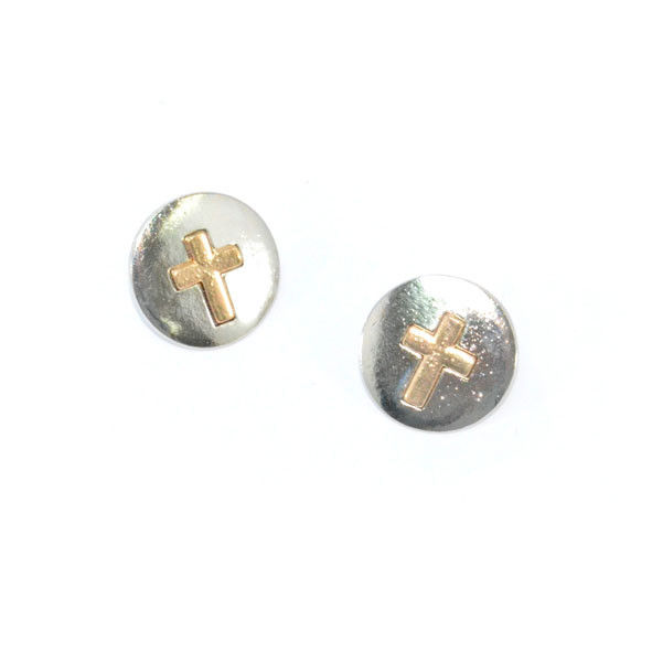 ROUND METAL WITH GOLD TONE CROSS EARRINGS - product image