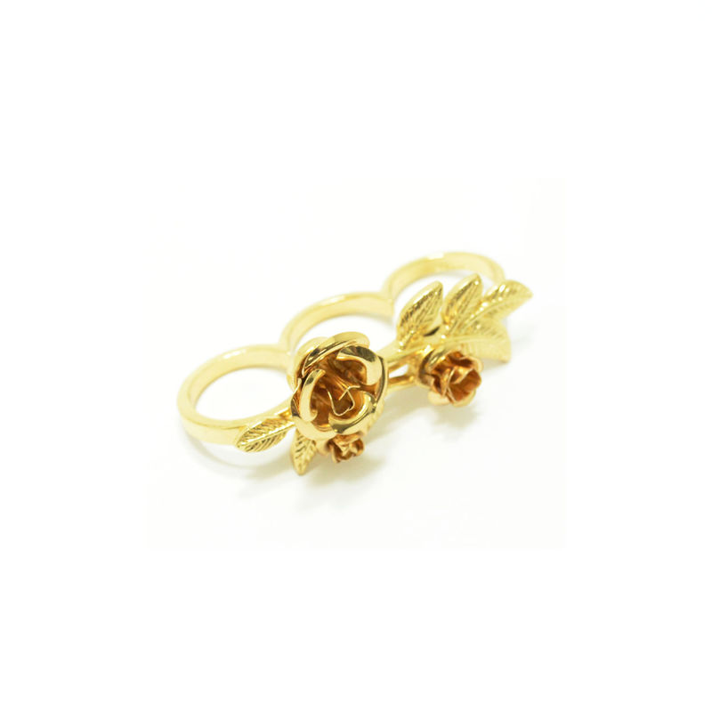 ROSES AND LEAVES TRIPLE FINGER RING - product image