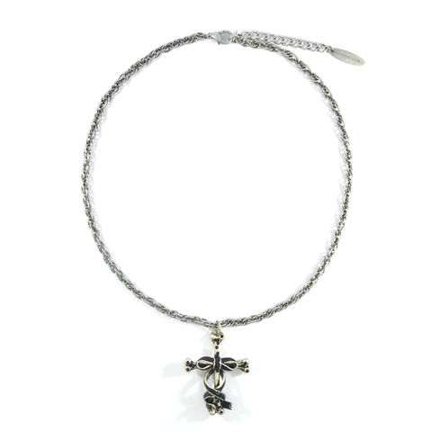 RIBBON,WRAPPED,CROSS,PENDANT,NECKLACE,VINTAGE CROSS NECKLACE, VINTAGE SILVER CROSS NECKLACE, RIBBON WRAPPED CROSS NECKLACE, BLACK RIBBON WRAPPED CROSS NECKLACE, BONE CROSS NECKLACE, RIBBON WRAPPED BONE CROSS NECKLACE, CRYSTAL CROSS NECKLACE, CRYSTAL DECOR BONE CROSS NECKLACE