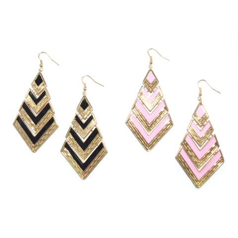 RHOMBUS,LAYER,DROP,EARRINGS