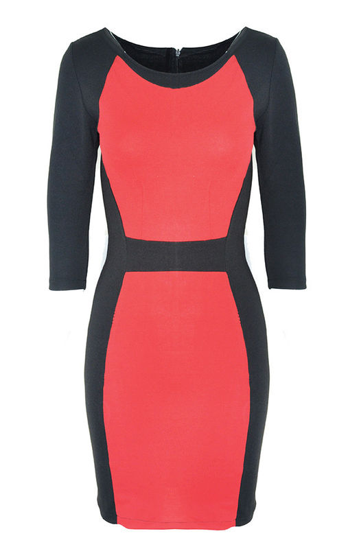 RED BLOCK BODYCON DRESS - product image