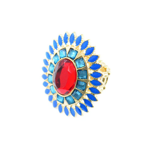 RED,AND,BLUE,CRYSTALS,FLORAL,RING,GEM AND GOLD RING, CHEAP RINGS