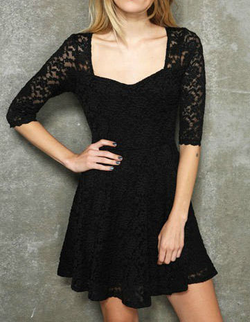 QUARTER,SLEEVE,LACE,DRESS