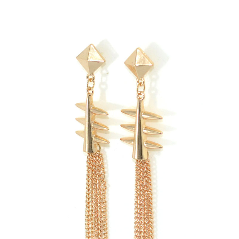 PYRAMID AND SPIKE LONG TASSELS DROP EARRINGS - product image