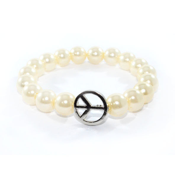 PEARL WITH PEACE LOGO ELASTIC BRACELET - product image