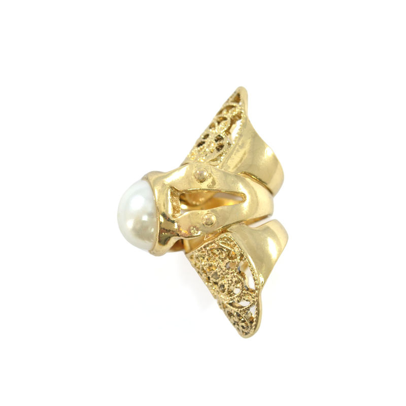 PEARL WITH PATTERN MOVABLE KNUCKLE RING - product image