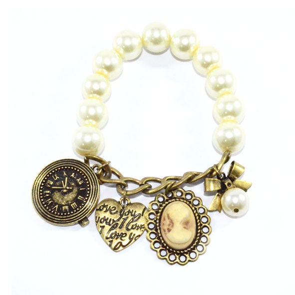 PEARL WITH MULTI PENDANTS ELASTIC BRACELET - product image