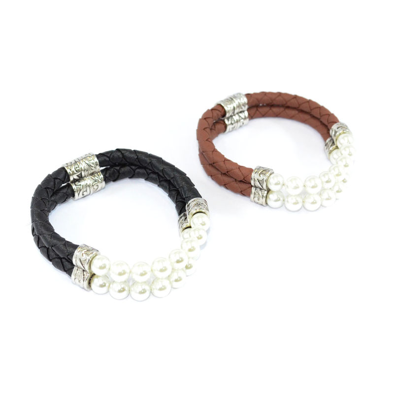 PEARL AND WOVEN FAUX LEATHER MAGNETIC BRACELET - product image