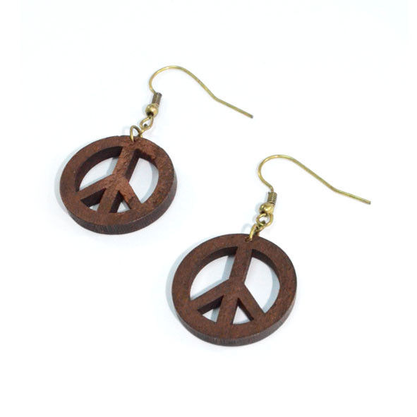 PEACE LOGO WOODEN EARRINGS - product image