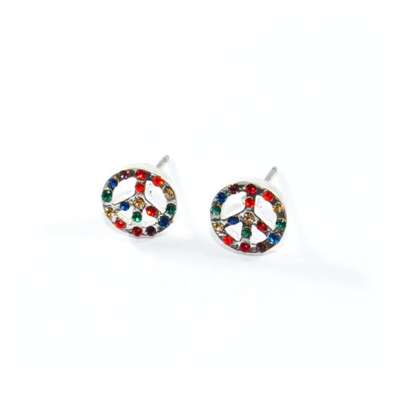 PEACE LOGO WITH RAINBOW CRYSTALS EARRINGS - product image