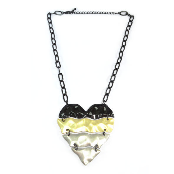 MULTI TONE HEART PENDANT NECKLACE - product image