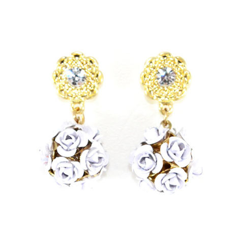 MULTI,ROSE,BALL,WITH,CRYSTAL,FLOWER,EARRING