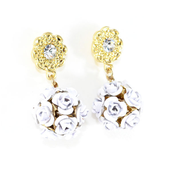 MULTI ROSE BALL WITH CRYSTAL FLOWER EARRING - product image