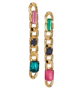 MULTI CRYSTALS DECOR CHAIN EARRINGS - product image