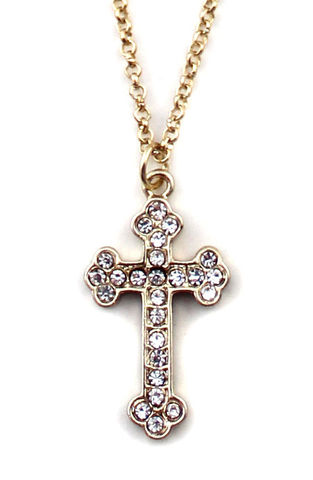 MULTI,CRYSTAL,CROSS,NECKLACE