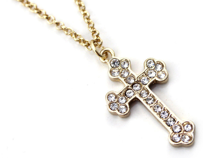 MULTI CRYSTAL CROSS NECKLACE - product image