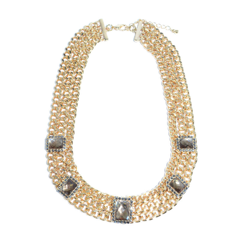 MULTI CHAIN WITH SQUARE CRYSTALS DECOR NECKLACE - product image