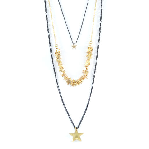 MULTI,CHAIN,STAR,PENDANTS,NECKLACE