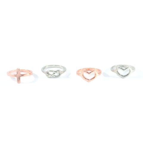 MINIMAL,CHARM,RING,HEART RING SET, HEART CHARM RING