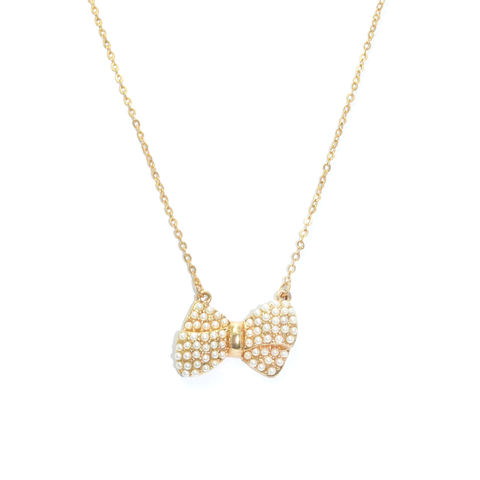 MINI,PEARLS,DECOR,BOW,NECKLACE