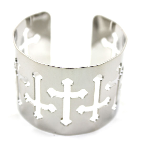 METALLIC MULTI HOLLOW CROSS BANGLE - product image