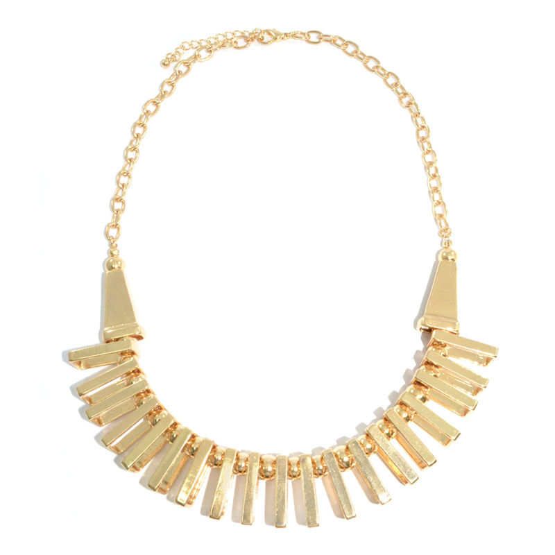 METALLIC GOLD RECTANGLE AND BEADS PENDANT CHOKER NECKLACE - product image