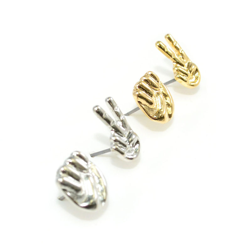 METAL TONE SCISSOR-STONE EARRINGS - product image