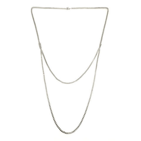 METAL,TONE,LONG,CHAIN,DOUBLE,NECKLACE