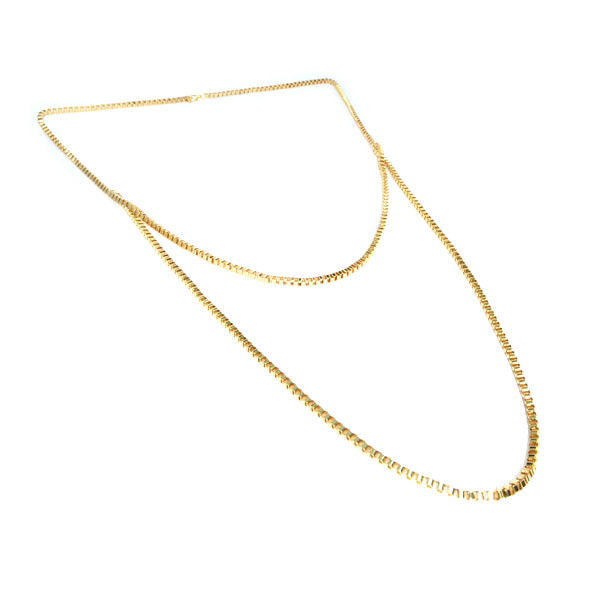 METAL TONE LONG CHAIN DOUBLE NECKLACE - product image