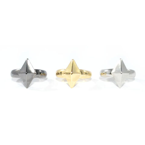 METAL,RHOMBUS,RING,triangle ring, triangle spike ring, gold triangle ring, rings and things