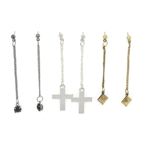 METAL,CHAIN,DROP,EARRINGS,SET