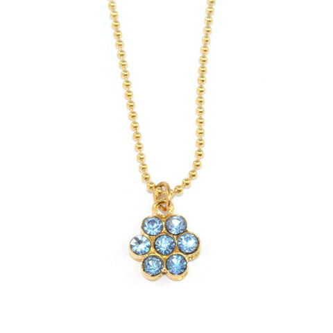 LIGHT,BLUE,CRYSTAL,FLOWER,NECKLACE